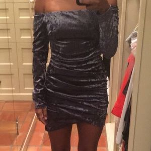 NWT Midnight blue off the shoulder dress